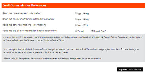 Jobseeker FAQ - Email Communication Preference